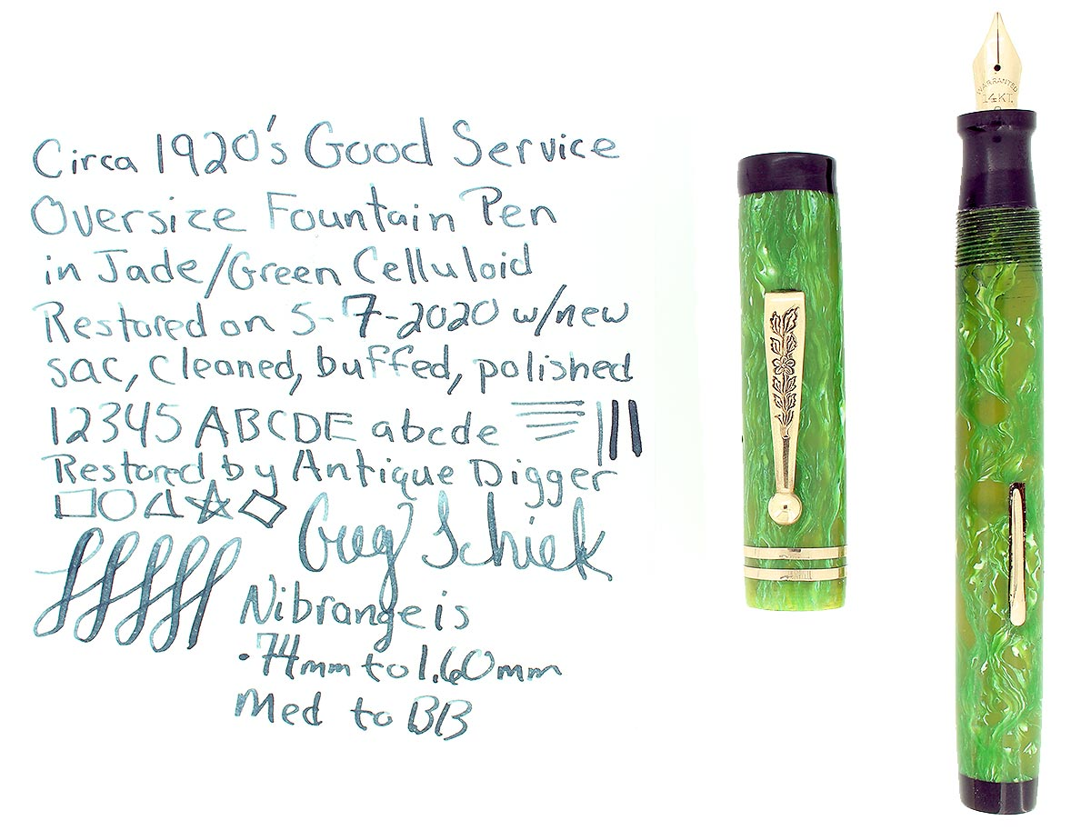 1920S GOOD SERVICE GREEN JADE OVERSIZE M-BB SEMI FLEX NIB FOUNTAIN PEN RESTORED OFFERED BY ANTIQUE DIGGER