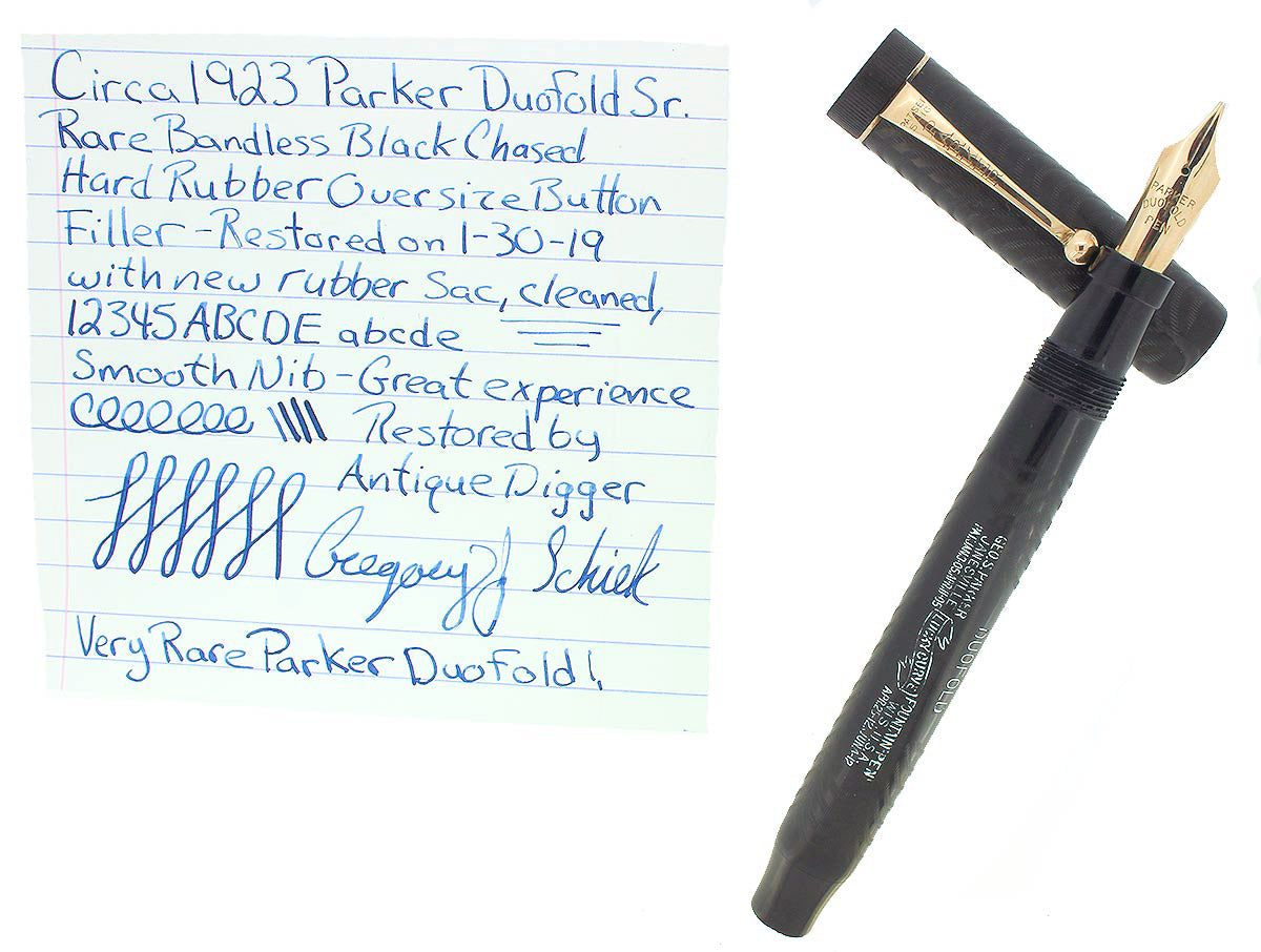 RARE CIRCA 1923 DUOFOLD SENIOR OVERSIZE BCHR BANDLESS CAP FOUNTAIN PEN RESTORED OFFERED BY ANTIQUE DIGGER