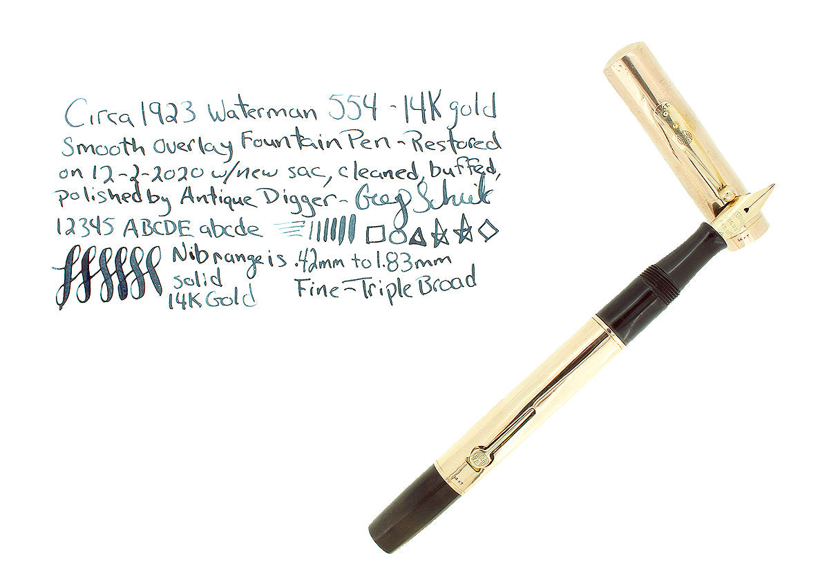 C1923 WATERMAN 554 SMOOTH SOLID 14K GOLD OVERLAY FOUNTAIN PEN RESTORED OFFERED BY ANTIQUE DIGGER