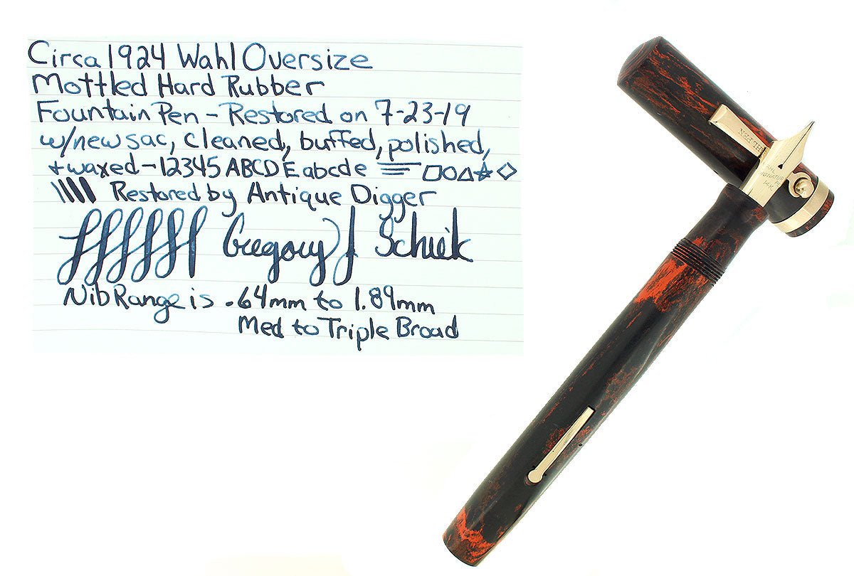 CIRCA 1924 WAHL OVERSIZE MOTTLED HARD RUBBER SIGNATURE FOUNTAIN PEN RESTORED OFFERED BY ANTIQUE DIGGER