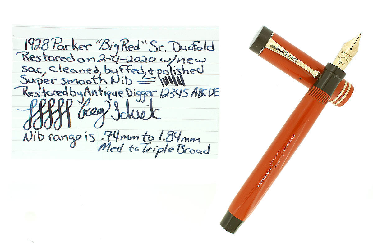 1928 PARKER DUOFOLD SENIOR RED PERMANITE FOUNTAIN PEN M-BBB FLEX NIB RESTORED OFFERED BY ANTIQUE DIGGER