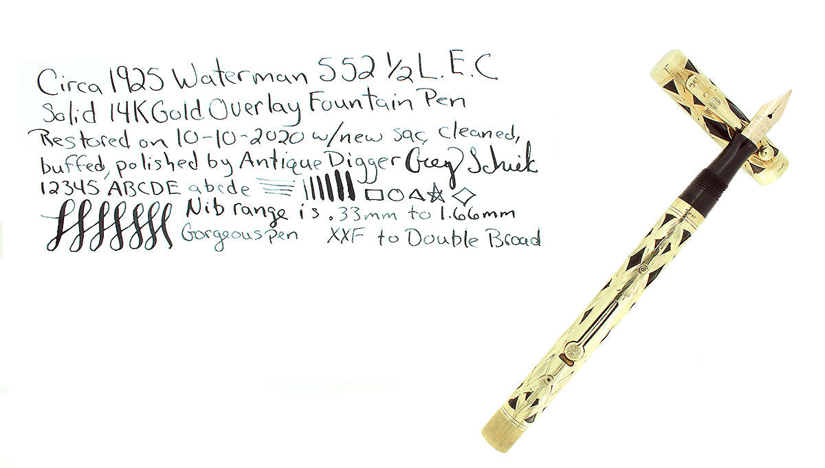 C1925 WATERMAN 552 1/2 L.E.C. BASKETWEAVE 14K GOLD OVERLAY FOUNTAIN PEN RESTORED OFFERED BY ANTIQUE DIGGER