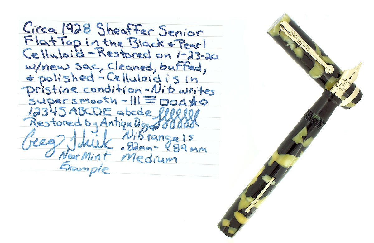 C1926 SHEAFFER OVERSIZE SENIOR BLACK & PEARL FLAT TOP FOUNTAIN PEN RESTORED NEAR MINT OFFERED BY ANTIQUE DIGGER