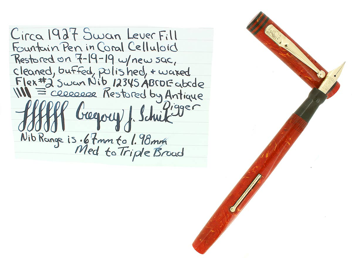 CIRCA 1927 SWAN CORAL CELLULOID M-BBB+ FLEX NIB FOUNTAIN PEN RESTORED BEAUTIFUL OFFERED BY ANTIQUE DIGGER