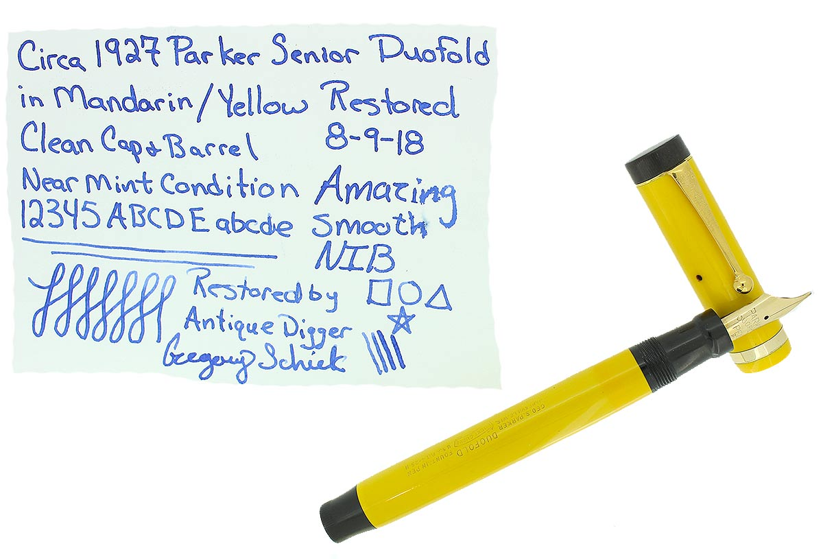 CIRCA 1927 DUOFOLD SENIOR MANDARIN YELLOW FOUNTAIN PEN B to BB NIB RESTORED OFFERED BY ANTIQUE DIGGER
