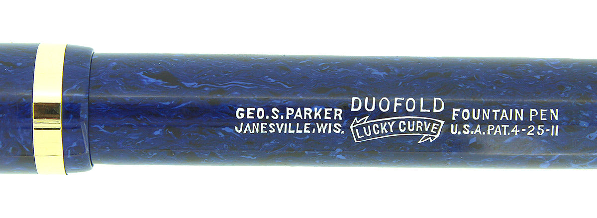 CIRCA 1927 PARKER SENIOR DUOFOLD BLUE ON BLUE LAPIS FOUNTAIN PEN F-BB FLEX NIB RESTORED OFFERED BY ANTIQUE DIGGER