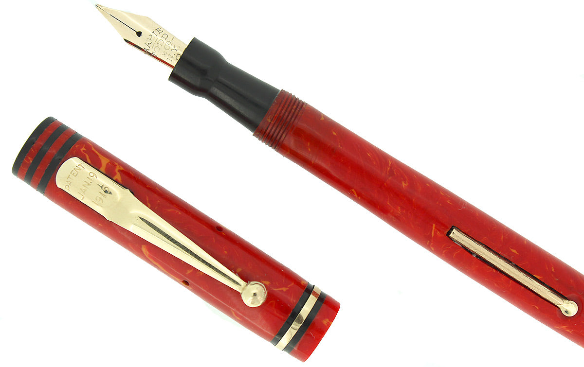 CIRCA 1927 SWAN MABIE TODD CORAL M-BBB+ FLEX NIB FOUNTAIN PEN RESTORED OFFERED BY ANTIQUE DIGGER