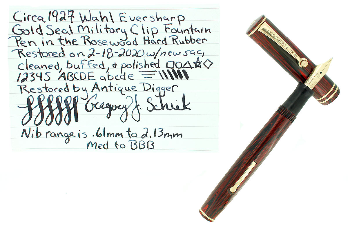 C1927 WAHL EVERSHARP ROSEWOOD GOLD SEAL MILITARY CLIP FOUNTAIN PEN RESTORED OFFERED BY ANTIQUE DIGGER