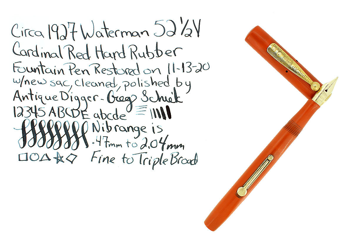 C1927 WATERMAN CARDINAL 52 1/2V FOUNTAIN PEN 14K F-BBB FLEX NIB RESTORED OFFERED BY ANTIQUE DIGGER