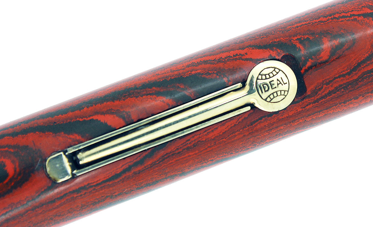 C1927 WATERMAN #7 RED RIPPLE BROWN CAP BAND & KEYHOLE NIB FOUNTAIN PEN RESTORED OFFERED BY ANTIQUE DIGGER