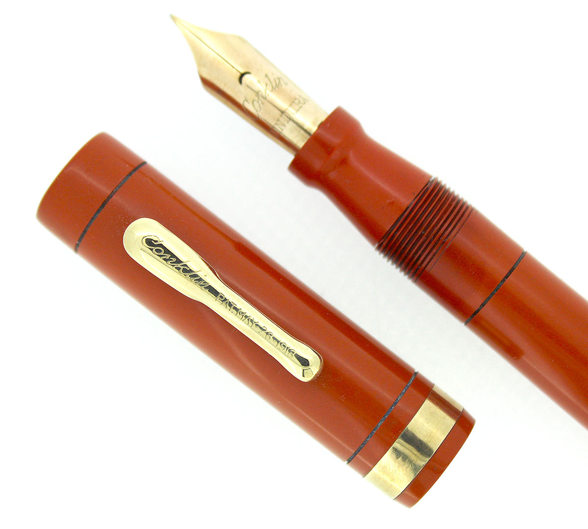 CIRC 1925 CONKLIN SENIOR ENDURA RED HARD RUBBER FOUNTAIN PEN RESTORED OFFERED BY ANTIQUE DIGGER