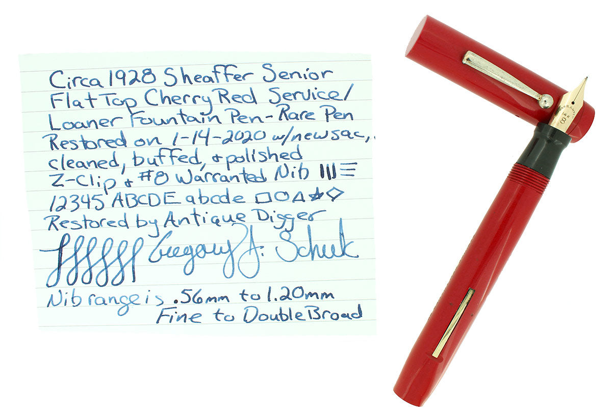 C1928 SHEAFFER SENIOR CHERRY RED FLAT TOP SERVICE LOANER FOUNTAIN PEN RESTORED OFFERED BY ANTIQUE DIGGER