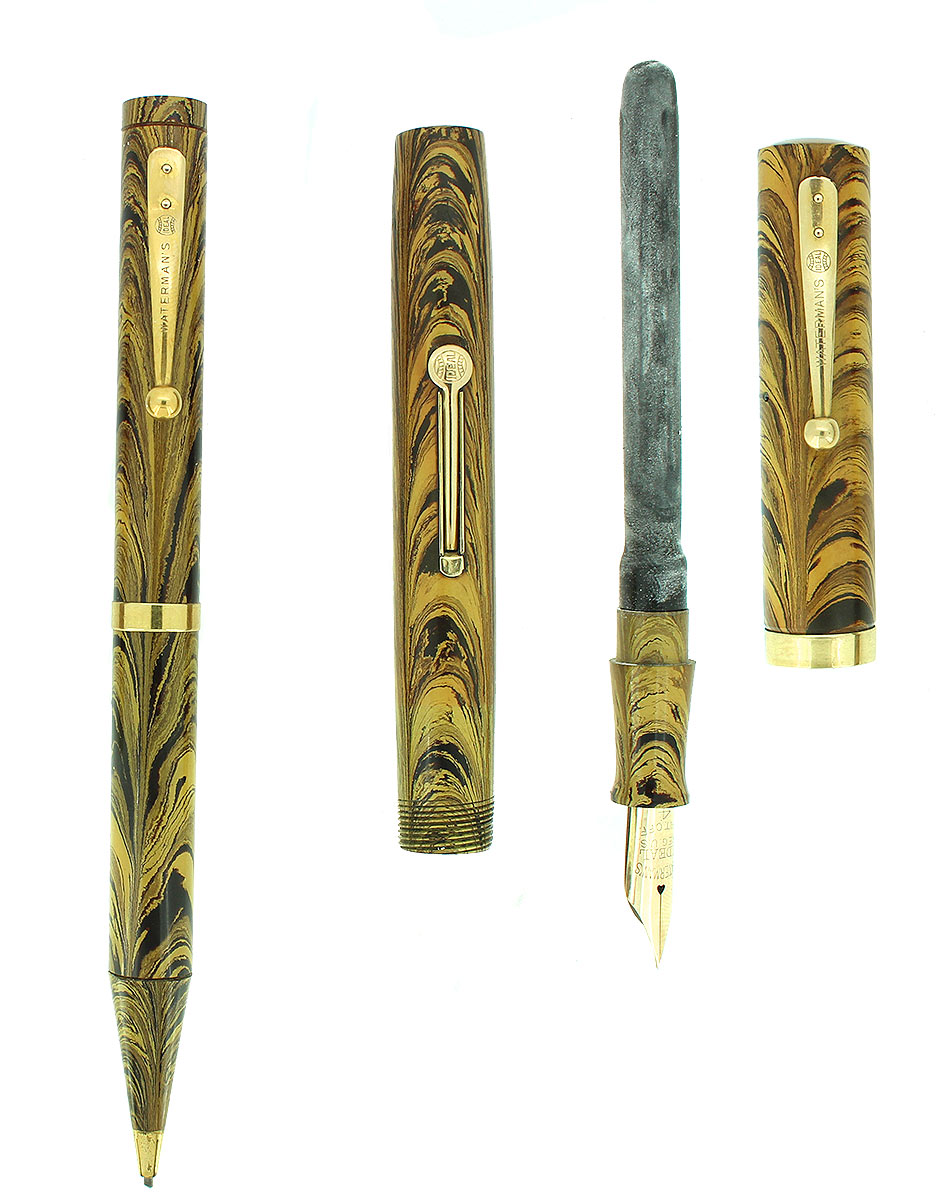 C1928 WATERMAN OLIVE RIPPLE 94 FOUNTAIN PEN AND PENCIL SET XXF - BB NIB RESTORED OFFERED BY ANTIQUE DIGGER
