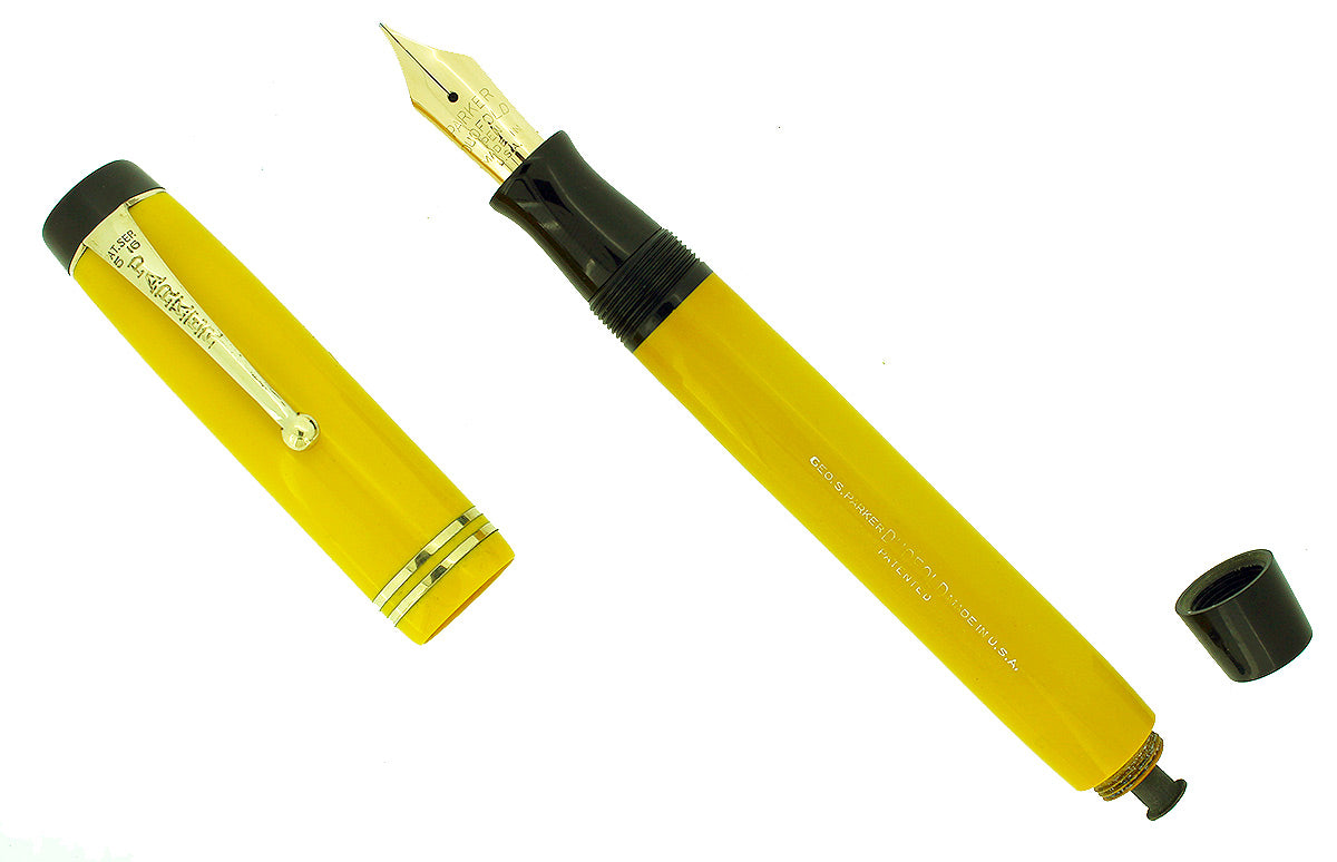 CIRCA 1929 DUOFOLD STREAMLINE SENIOR MANDARIN YELLOW FOUNTAIN PEN RESTORED OFFERED BY ANTIQUE DIGGER