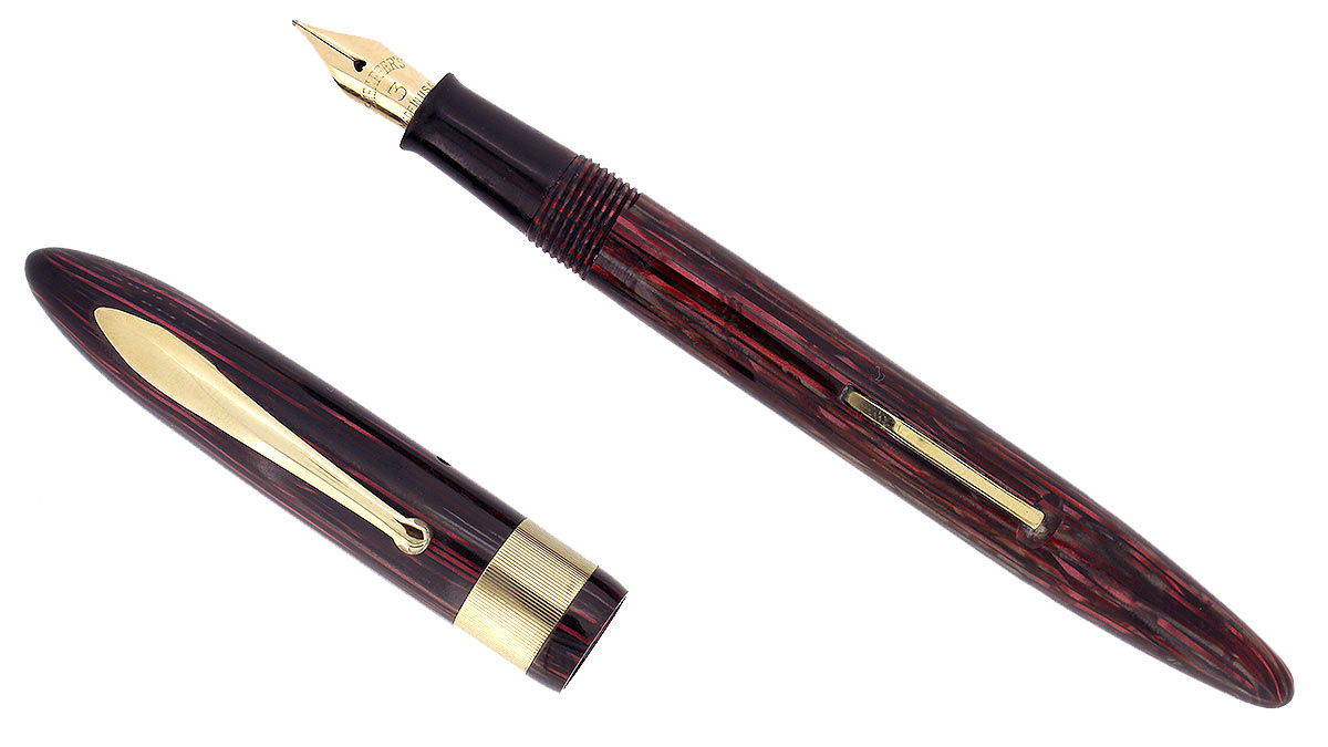 CIRCA 1938 SHEAFFER ROSE GLOW BALANCE FOUNTAIN PEN JEWELERS CAP BANDING RESTORED OFFERED BY ANTIQUE DIGGER