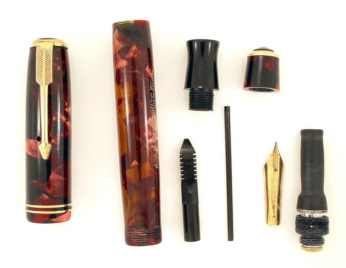 CIRCA 1934 PARKER BURGUNDY MOTTLED DOUBLE JEWEL VACUMATIC JR FOUNTAIN PEN RESTORED OFFERED BY ANTIQUE DIGGER