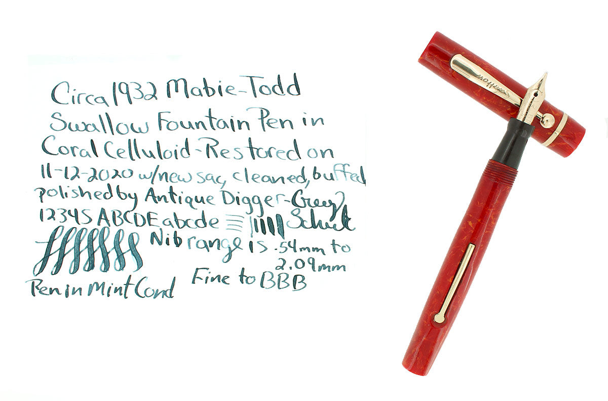 C1932 MABIE TODD SWALLOW CORAL F-BBB STUB FLEX NIB FOUNTAIN PEN RESTORED OFFERED BY ANTIQUE DIGGER