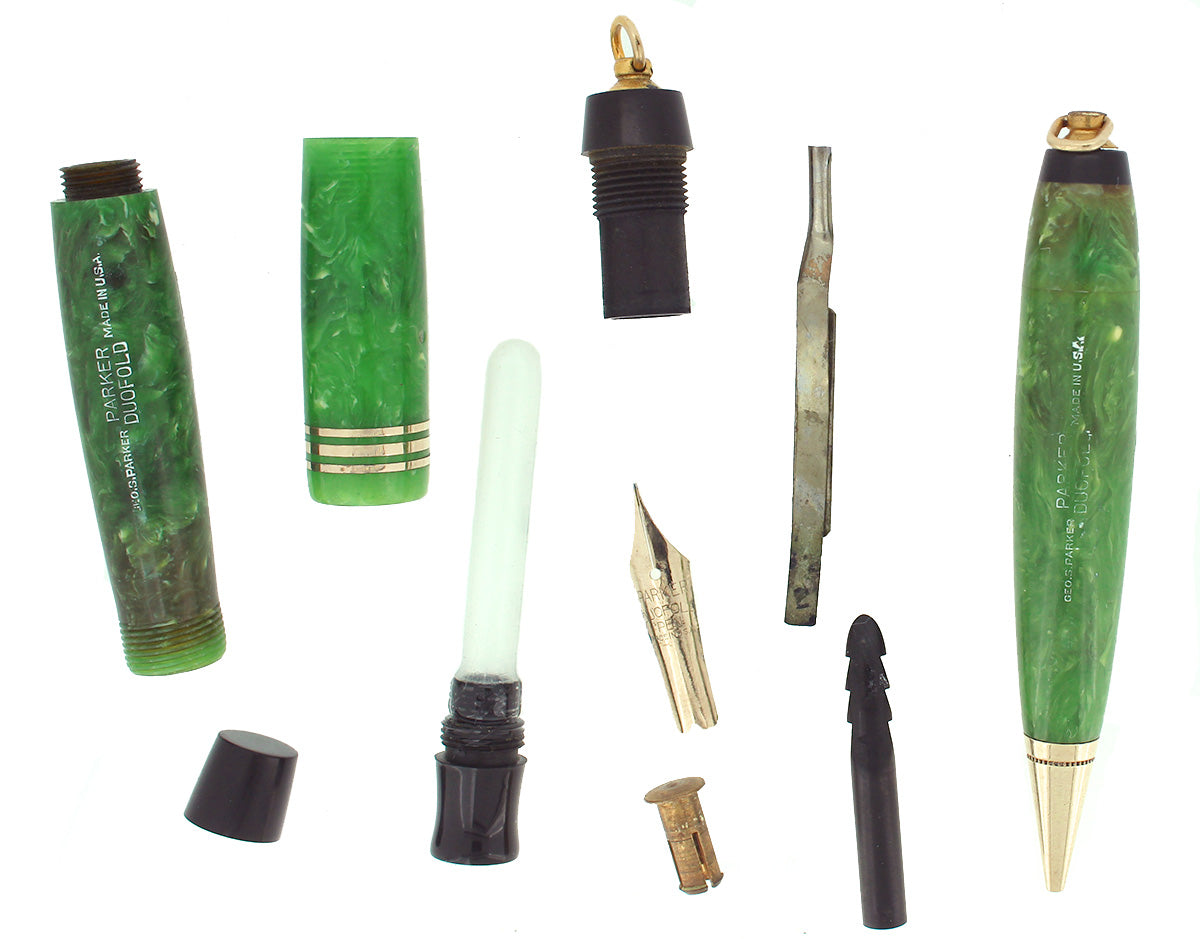CIRCA 1932 DUOFOLD JADE VEST POCKET FOUNTAIN PEN & PENCIL SET XF-BBB+ NIB RESTORED OFFERED BY ANTIQUE DIGGER