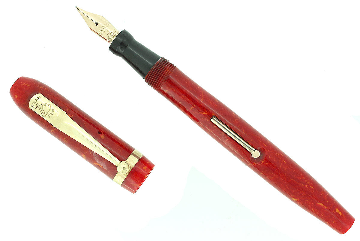 C1932 SWAN CORAL CELLULOID M-BBBB+ FLEX NIB FOUNTAIN PEN RESTORED BEAUTIFUL OFFERED BY ANTIQUE DIGGER