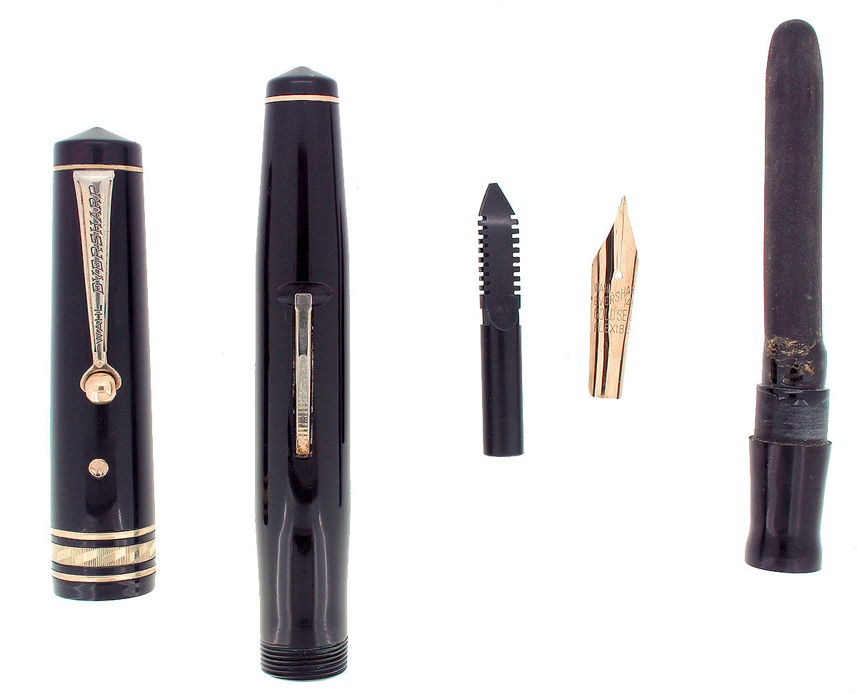 1932 WAHL EVERSHARP EQUIPOISED GOLD SEAL OVERSIZE DECOBAND FOUNTAIN PEN RESTORED OFFERED BY ANTIQUE DIGGER