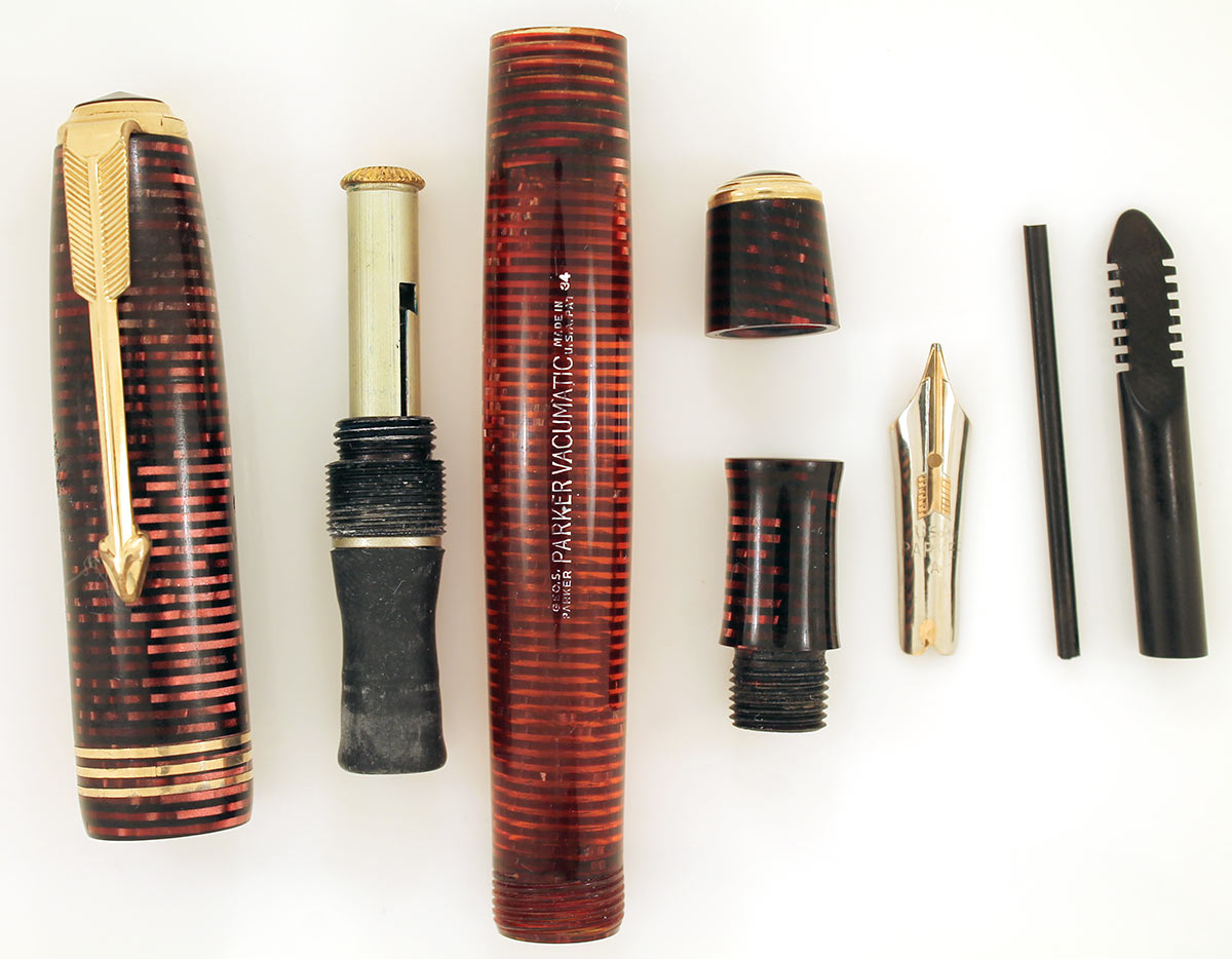 RESTORED 1934 PARKER BURGUNDY PEARL DOUBLE JEWEL VACUMATIC FOUNTAIN PEN OFFERED BY ANTIQUE DIGGER