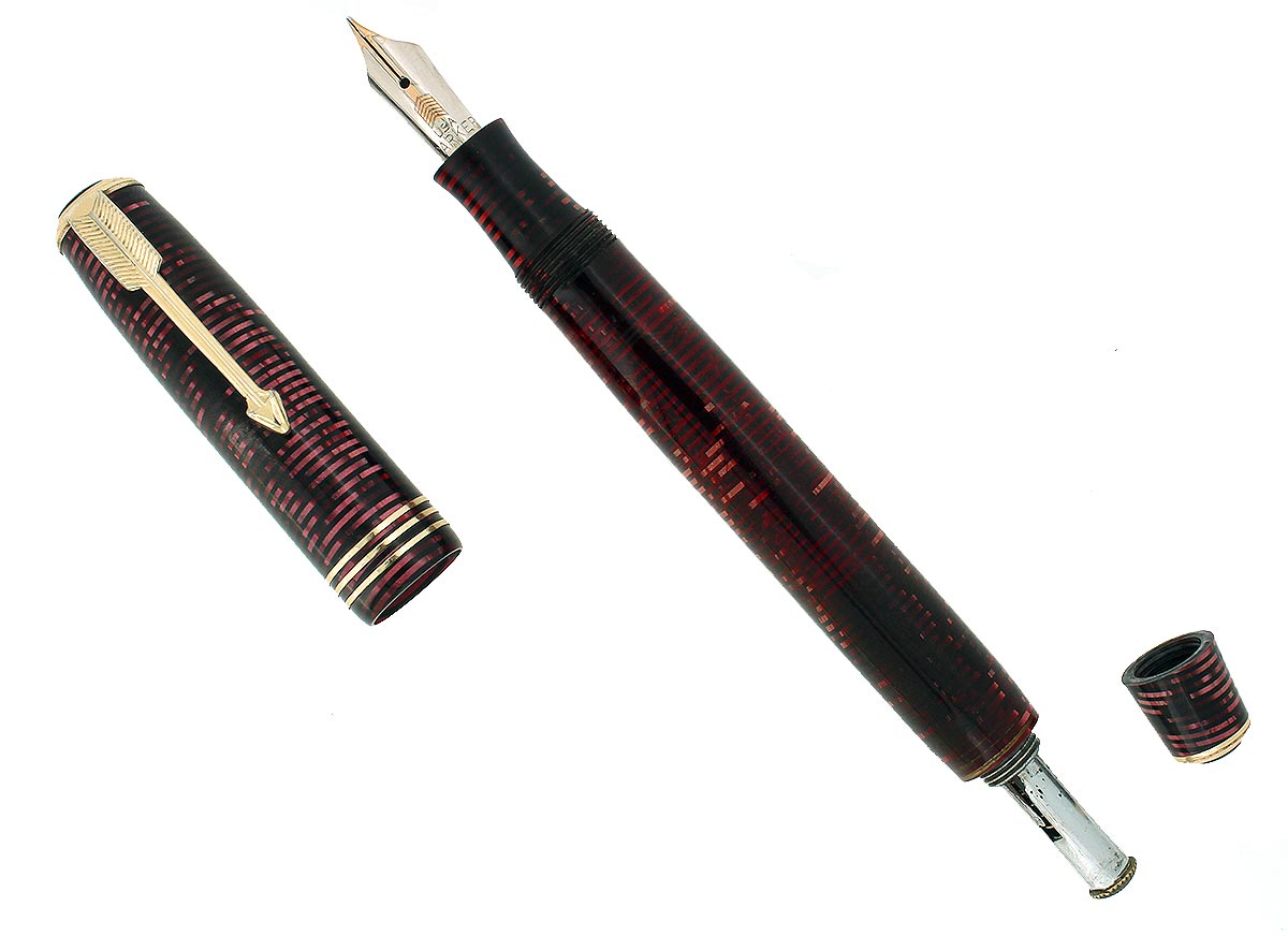 1934 PARKER BURGUNDY PEARL STANDARD VACUMATIC DOUBLE JEWEL FOUNTAIN PEN RESTORED OFFERED BY ANTIQUE DIGGER