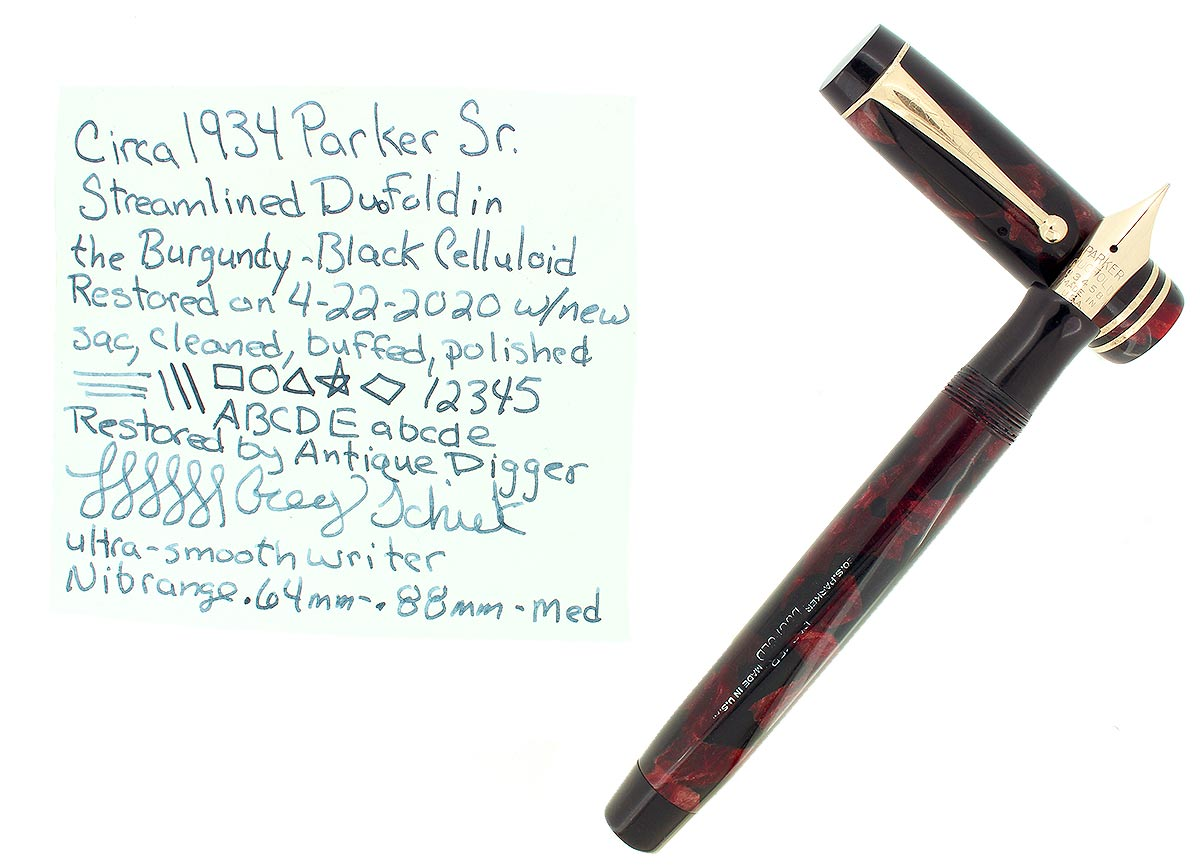 C1934 PARKER SENIOR STREAMLINE DUOFOLD BURGUNDY BLACK FOUNTAIN PEN RESTORED OFFERED BY ANTIQUE DIGGER