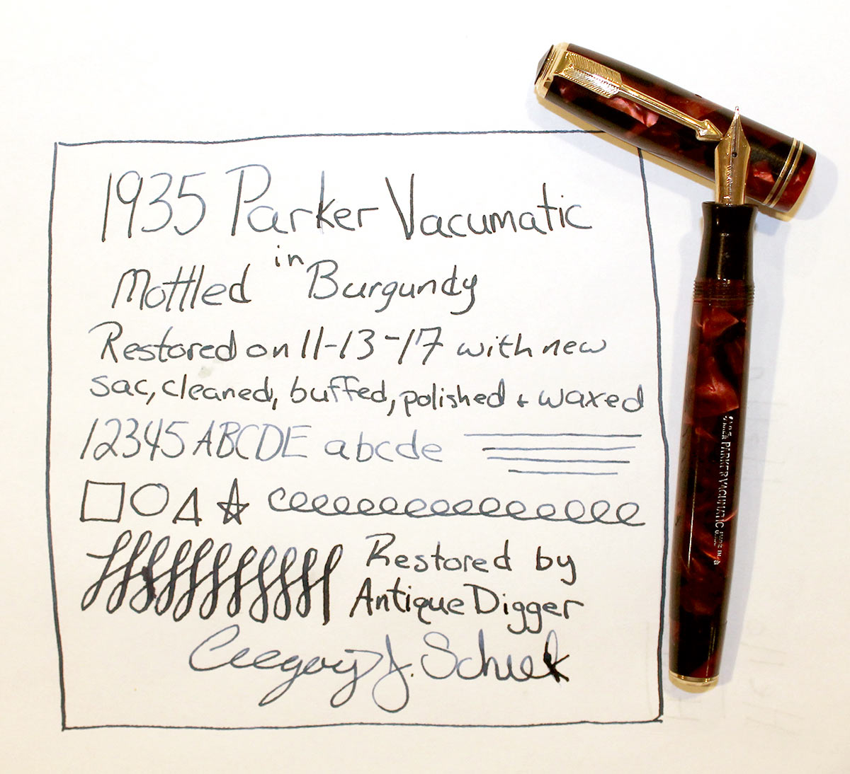 1935 PARKER BURGUNDY MOTTLED DOUBLE JEWEL VACUMATIC JR FOUNTAIN PEN RESTORED