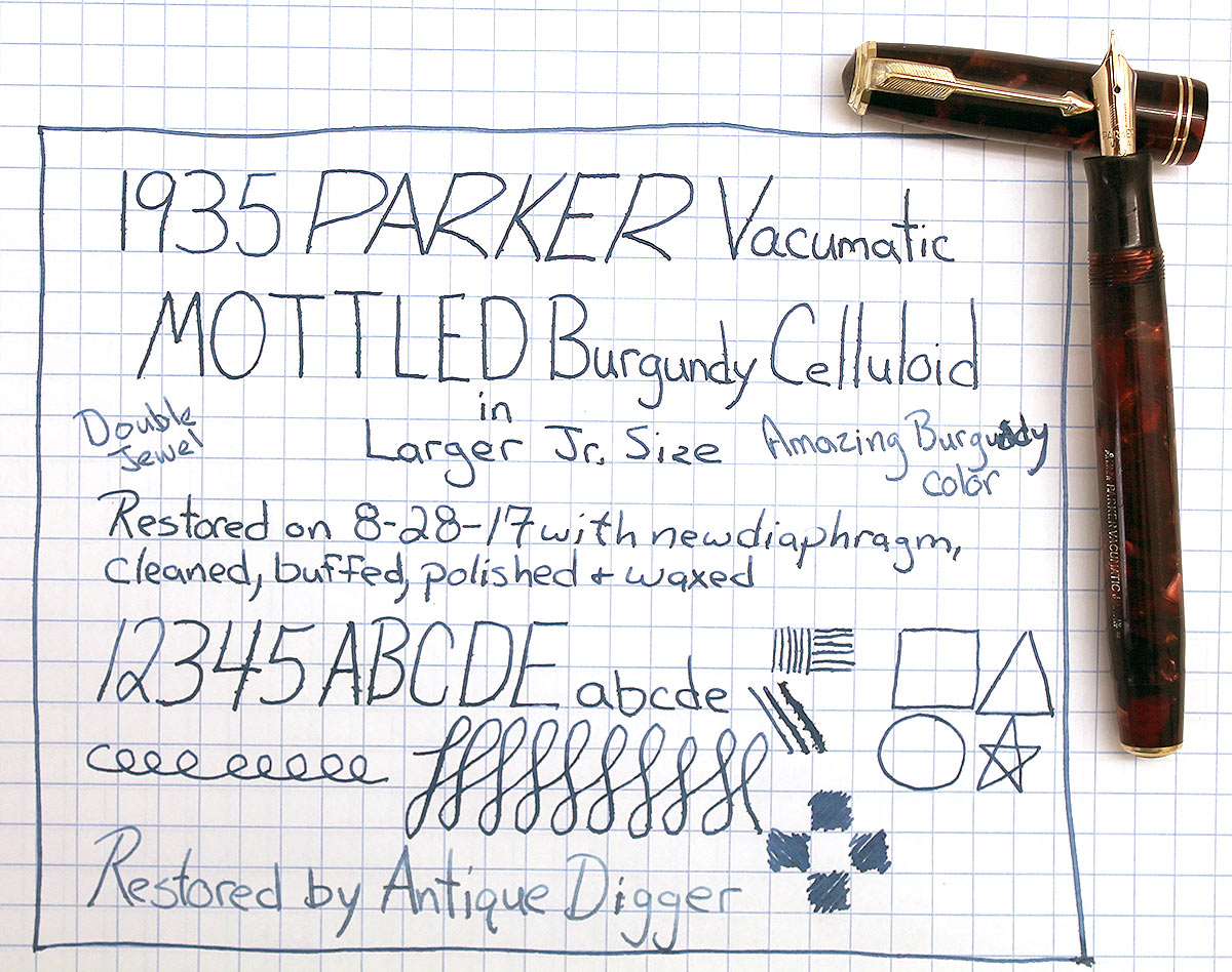 1935 PARKER MOTTLED BURGUNDY DOUBLE JEWEL VACUMATIC JR FOUNTAIN PEN RESTORED OFFERED BY ANTIQUE DIGGER
