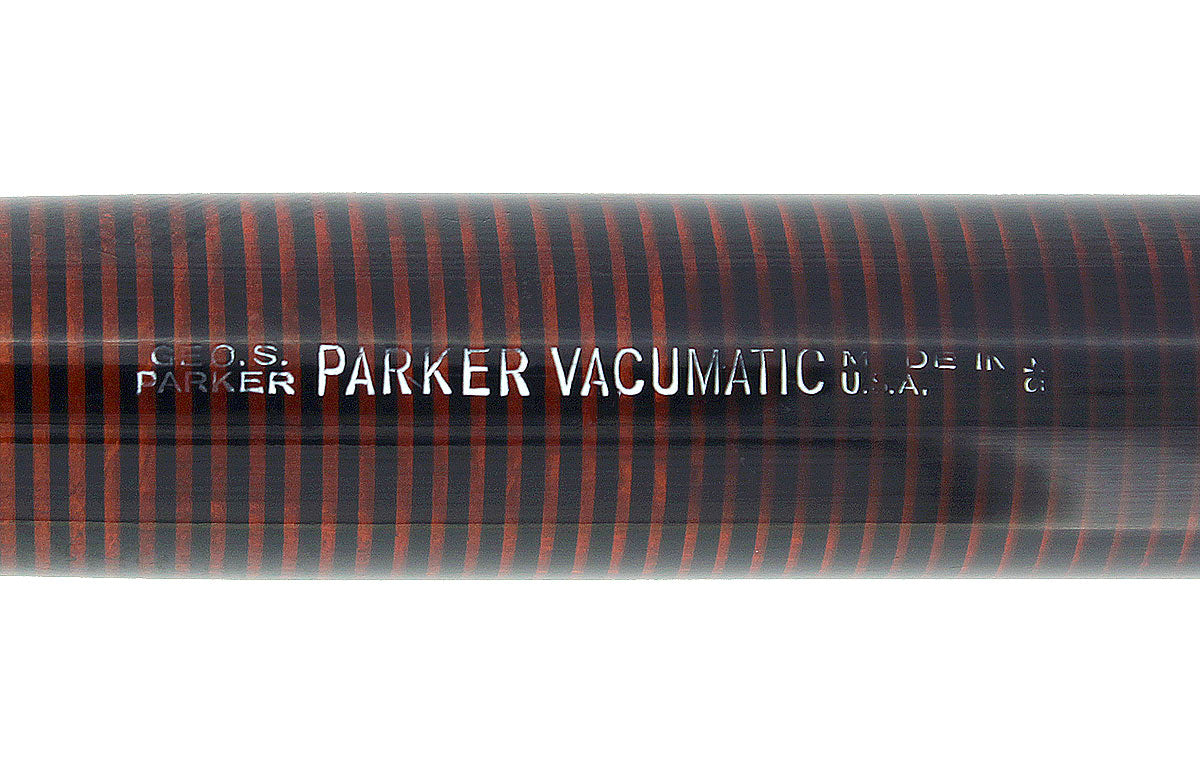 1935 PARKER JET BLACK DOUBLE JEWEL VACUMATIC OVERSIZE FOUNTAIN PEN RESTORED