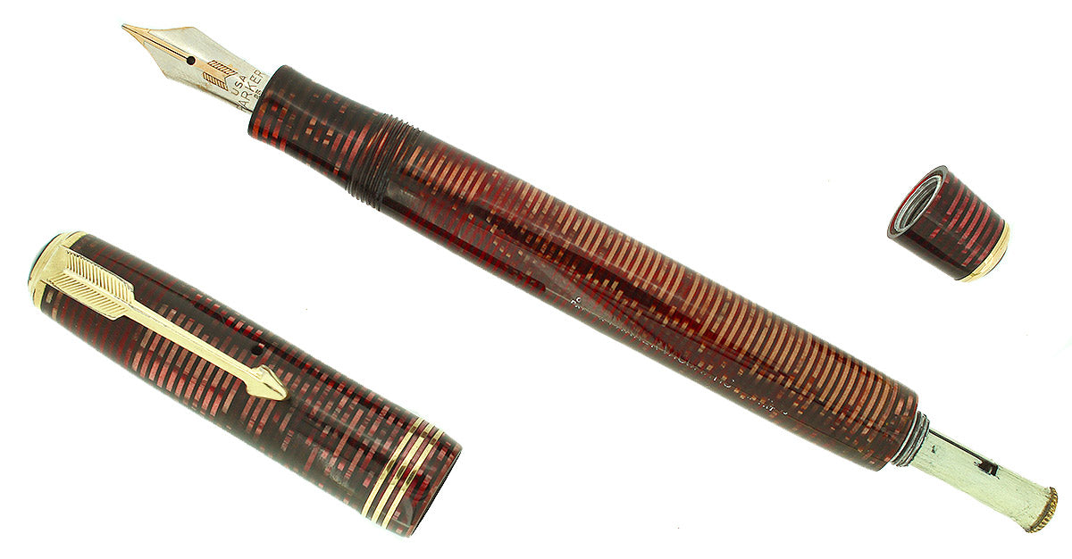 1935 PARKER BURGUNDY PEARL STANDARD VACUMATIC FOUNTAIN PEN RESTORED OFFERED BY ANTIQUE DIGGER