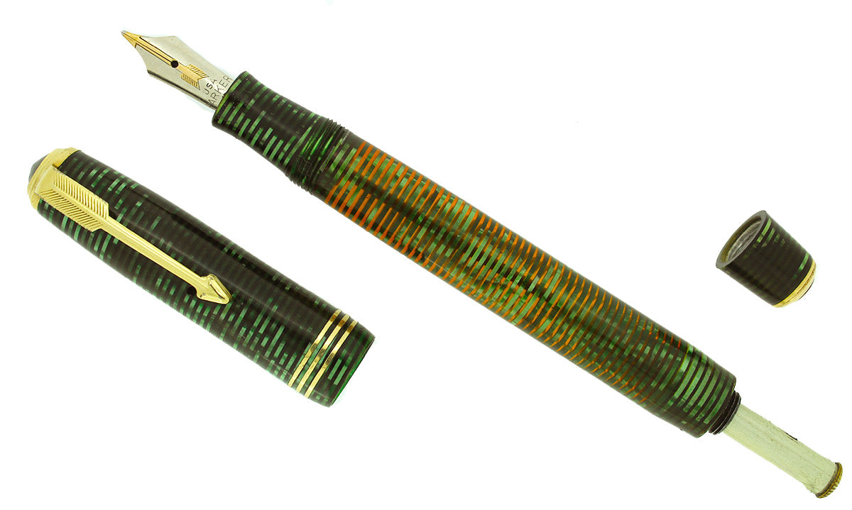 1935 PARKER EMERALD VACUMATIC DOUBLE JEWEL FOUNTAIN PEN STANDARD SIZE RESTORED OFFERED BY ANTIQUE DIGGER
