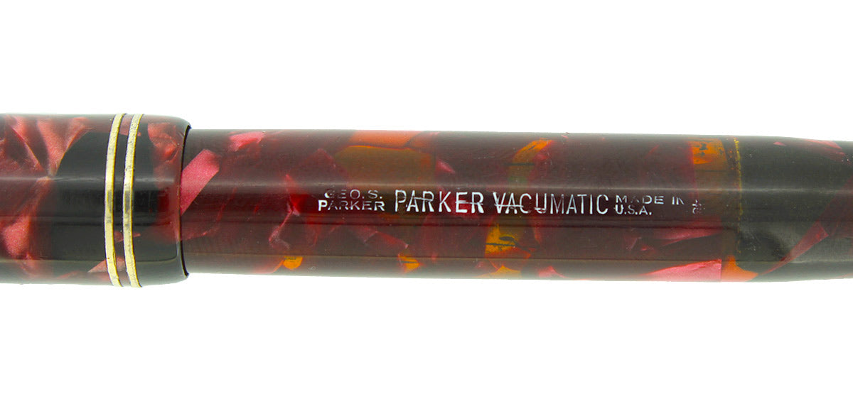 1935 PARKER BURGUNDY MOTTLED DOUBLE JEWEL VACUMATIC JR FOUNTAIN PEN RESTORED OFFERED BY ANTIQUE DIGGER