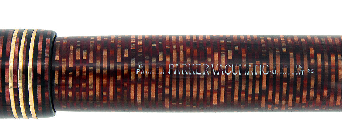 1935 PARKER BURGUNDY PEARL DOUBLE JEWEL VACUMATIC OVERSIZE FOUNTAIN PEN RESTORED OFFERED BY ANTIQUE DIGGER