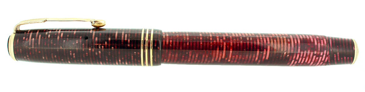 1935 PARKER VACUMATIC BURGUNDY PEARL STANDARD SIZE FOUNTAIN PEN RESTORED OFFERED BY ANTIQUE DIGGER