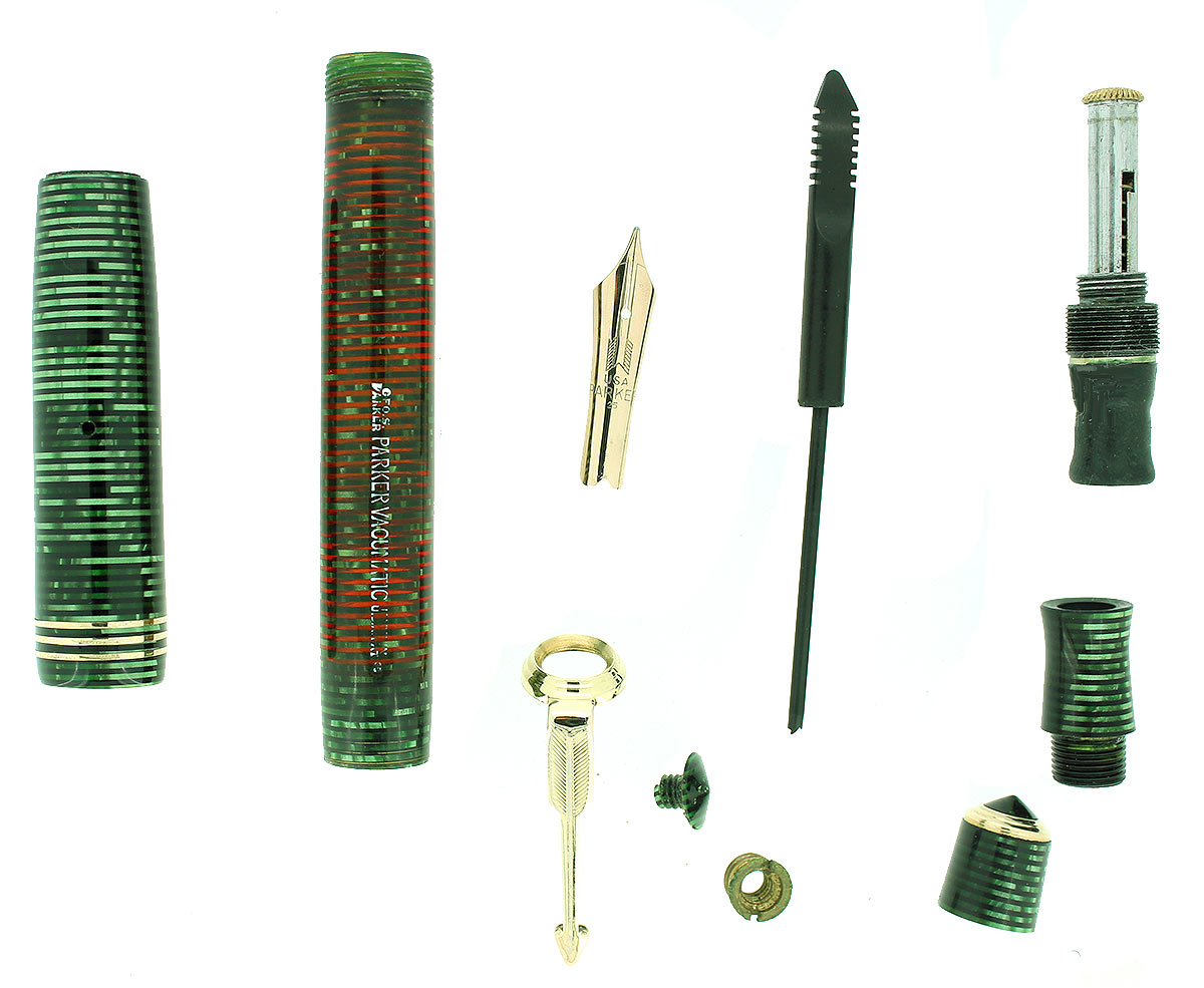 1935 PARKER EMERALD PEARL STANDARD VACUMATIC DOUBLE JEWEL FOUNTAIN PEN RESTORED OFFERED BY ANTIQUE DIGGER