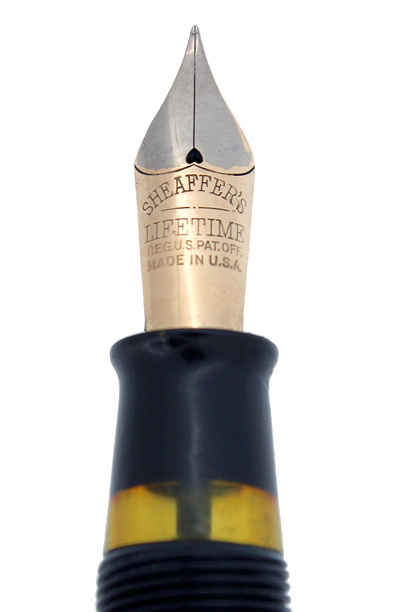 CIRCA 1935 SHEAFFER OVERSIZE EBONITE PEARL BALANCE FOUNTAIN PEN RESTORED NEAR MINT OFFERED BY ANTIQUE DIGGER