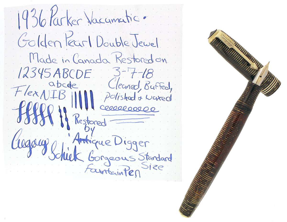 RESTORED 1936 PARKER GOLDEN PEARL DJ VACUMATIC FOUNTAIN PEN F - BBB+ FLEX NIB OFFERED BY ANTIQUE DIGGER