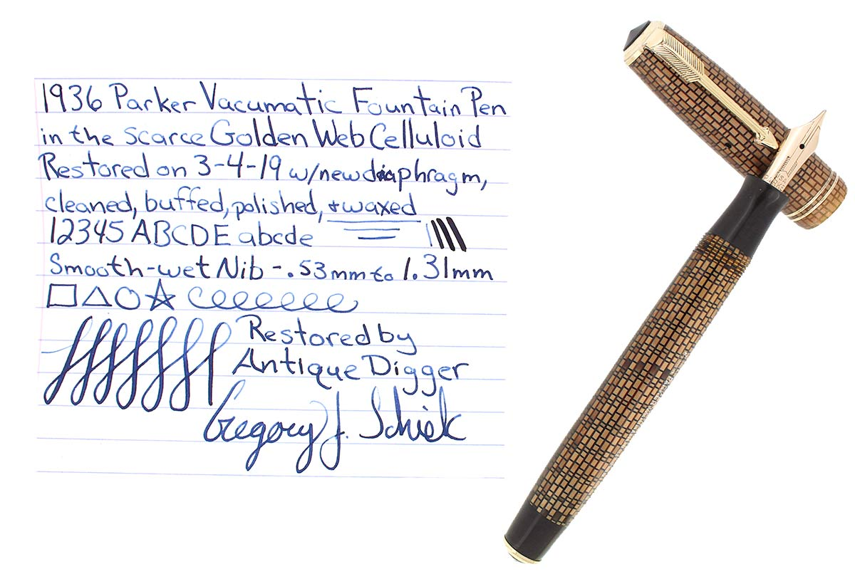 1936 PARKER GOLDEN WEB VACUMATIC DOUBLE JEWEL FOUNTAIN PEN F - BB NIB RESTORED OFFERED BY ANTIQUE DIGGER