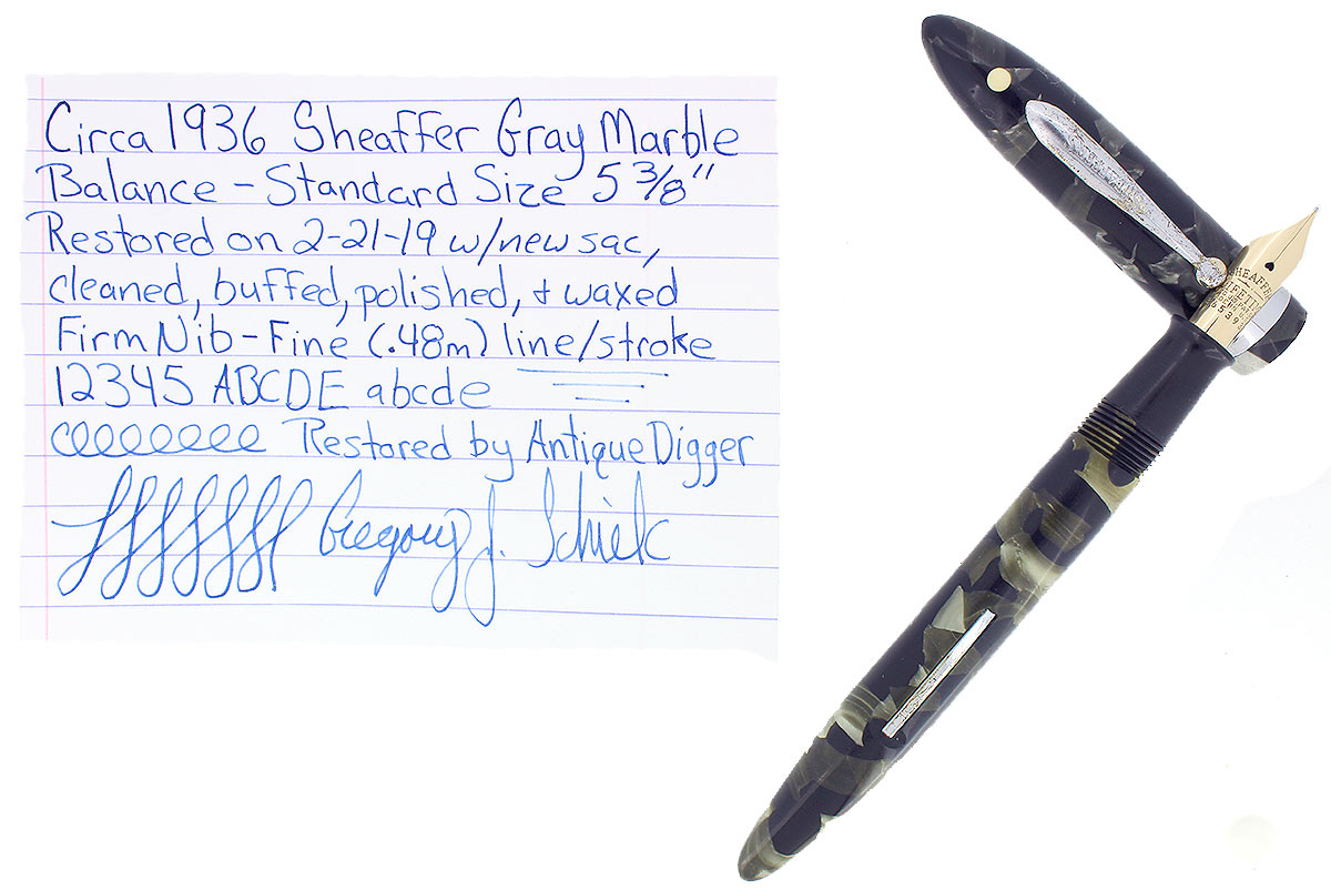 CIRCA 1936 SHEAFFER STANDARD SIZE GRAY MARBLED BALANCE FOUNTAIN PEN RESTORED OFFERED BY ANTIQUE DIGGER