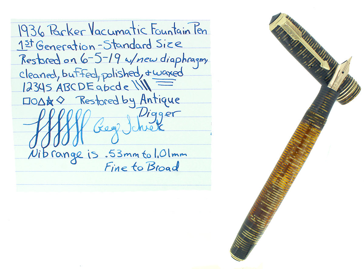 1936 PARKER GOLDEN PEARL STANDARD VACUMATIC DOUBLE JEWEL FOUNTAIN PEN RESTORED OFFERED BY ANTIQUE DIGGER