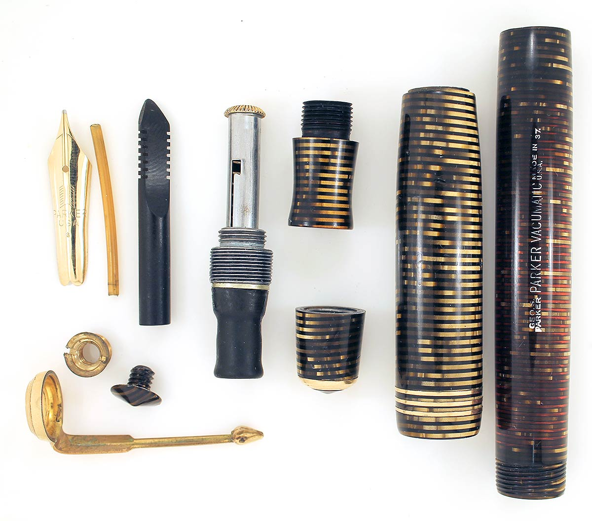 1937 PARKER GOLDEN PEARL DJ VACUMATIC FOUNTAIN PEN HIGH FLEX F-BBB+ NIB RESTORED OFFERED BY ANTIQUE DIGGER