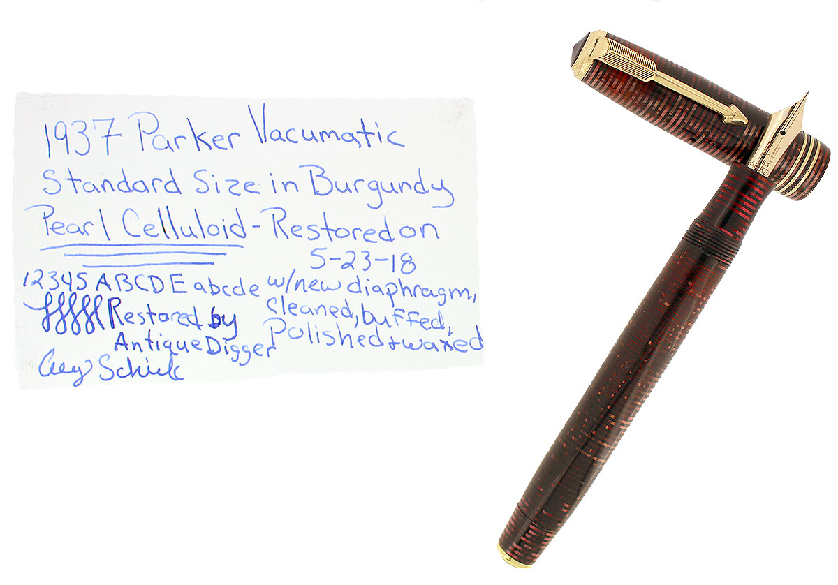 1937 PARKER BURGUNDY VACUMATIC DOUBLE JEWEL FOUNTAIN PEN STANDARD SIZE RESTORED OFFERED BY ANTIQUE DIGGER