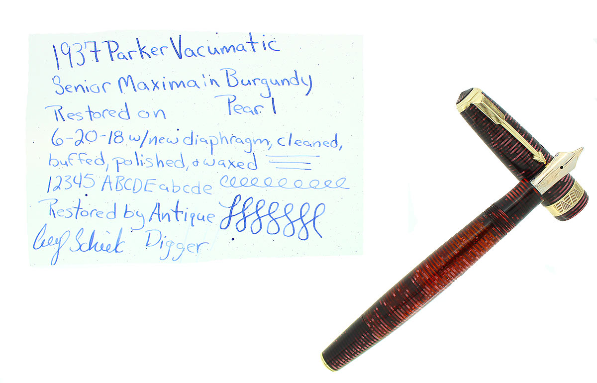 1937 PARKER BURGUNDY PEARL SENIOR MAXIMA VACUMATIC FOUNTAIN PEN RESTORED NEAR MINT OFFERED BY ANTIQUE DIGGER