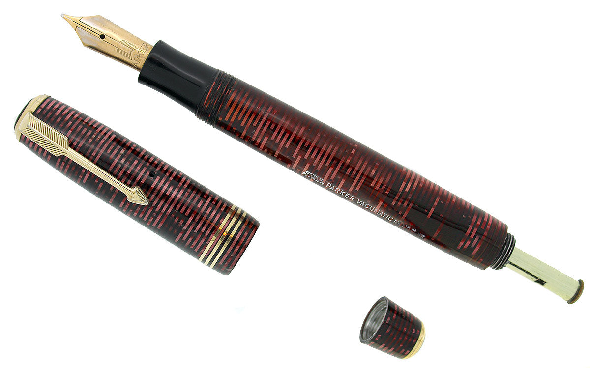 1937 PARKER BURGUNDY PEARL DOUBLE JEWEL VACUMATIC OVERSIZE FOUNTAIN PEN RESTORED OFFERED BY ANTIQUE DIGGER