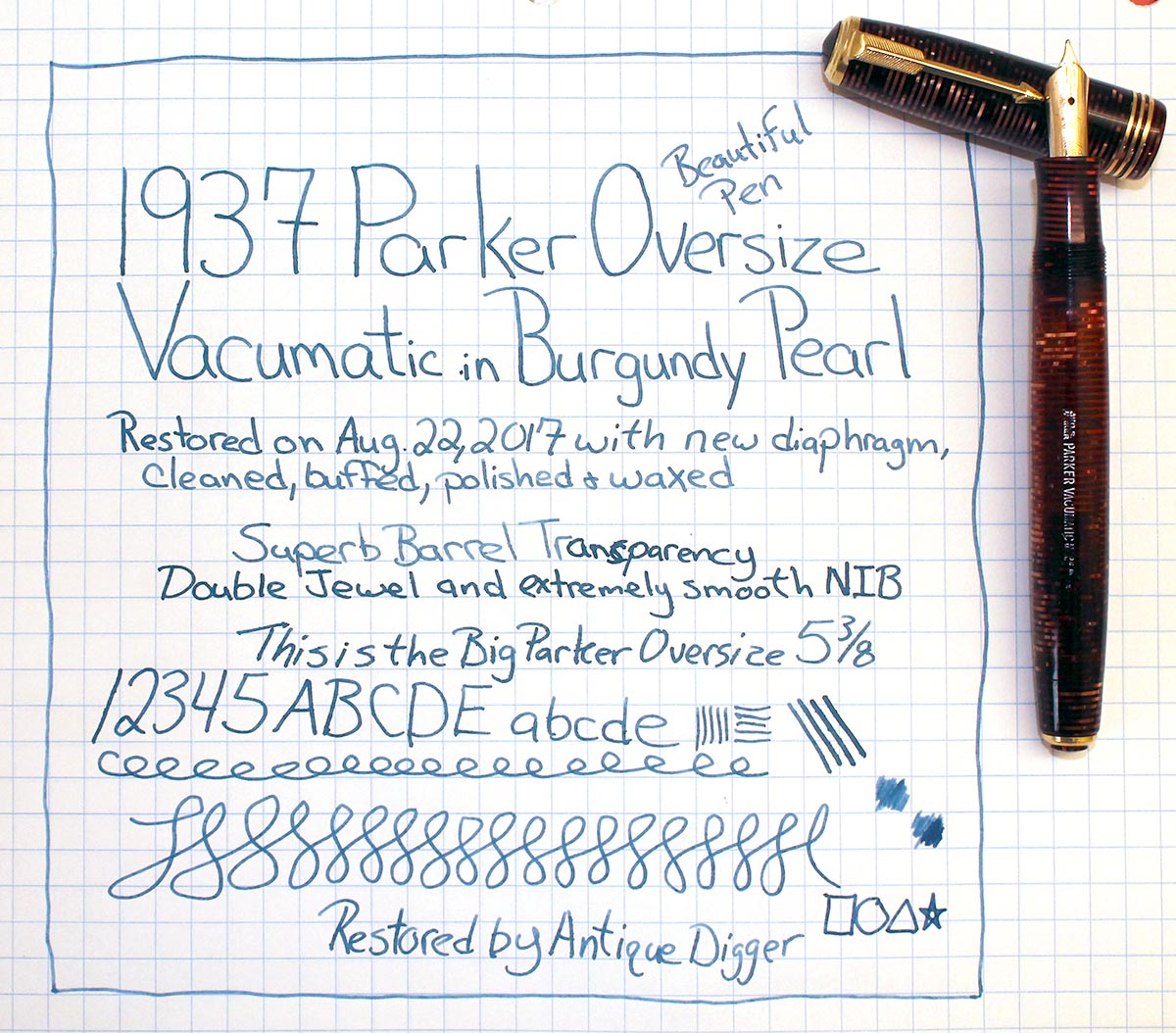 RESTORED 1937 PARKER BURGUNDY PEARL DOUBLE JEWEL VACUMATIC OVERSIZE FOUNTAIN PEN OFFERED BY ANTIQUE DIGGER
