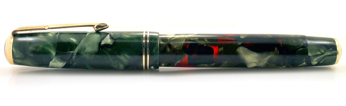 1937 PARKER MOTTLED GREEN LARGE JR DOUBLE JEWEL VACUMATIC FOUNTAIN PEN RESTORED OFFERED BY ANTIQUE DIGGER
