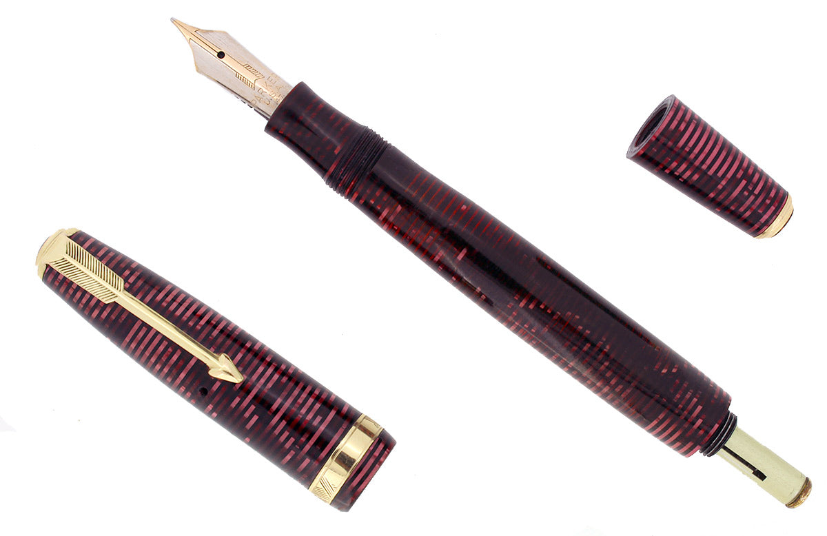 1937 PARKER BURGUNDY PEARL VACUMATIC DOUBLE JEWEL FOUNTAIN PEN RESTORED OFFERED BY ANTIQUE DIGGER