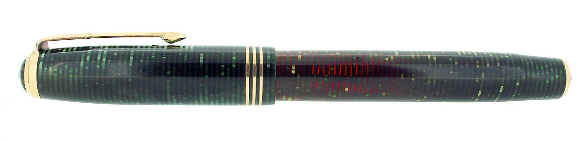1937 PARKER EMERALD PEARL STANDARD VACUMATIC DOUBLE JEWEL FOUNTAIN PEN RESTORED OFFERED BY ANTIQUE DIGGER
