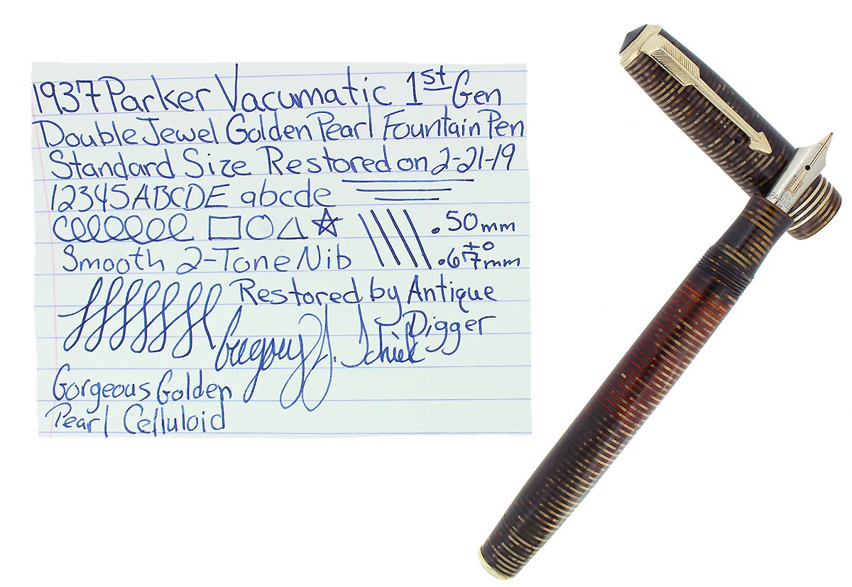 1937 PARKER GOLDEN PEARL STANDARD VACUMATIC DOUBLE JEWEL FOUNTAIN PEN RESTORED OFFERED BY ANTIQUE DIGGER